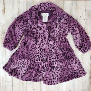 Soft Faux Fur WIDGEON Purple Leopard Girls Coat 4